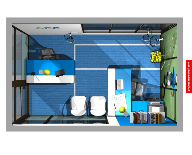 Design intérieur Bureaux Birdview angle 3D Illustration of tennis school office interior design.