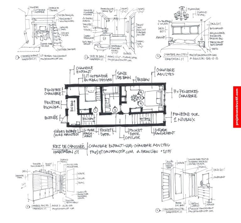 Propositions à main levée design rez-de-chausse. Hand drawing layout draft.