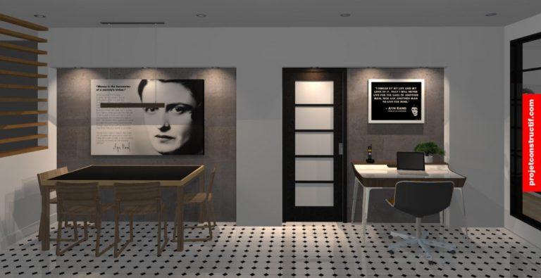 Perspective 3D ambiance soirée de salle à manger + bureau • Evening tone 3D perspective of dining set and working desk