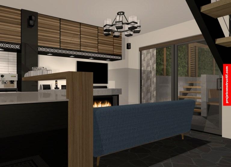 Rénovation sous-sol Illustration rendu 3D salon • 3D rendering illustration of living-room