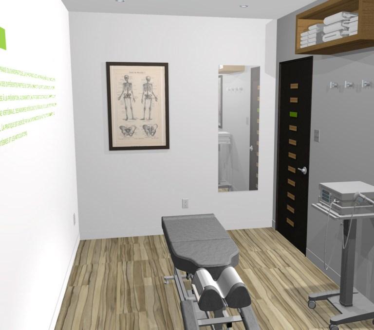Aménagement intérieur Dessin 3D illustrant un 3e angle de la salle de chiropratie. 3D drawing showing angle 3 of chiropractic