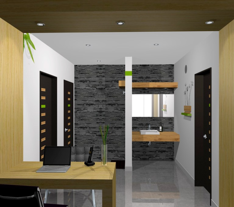 Aménagement intérieur 3D image, 2nd angle of welcoming area illustrating sink and entrance.