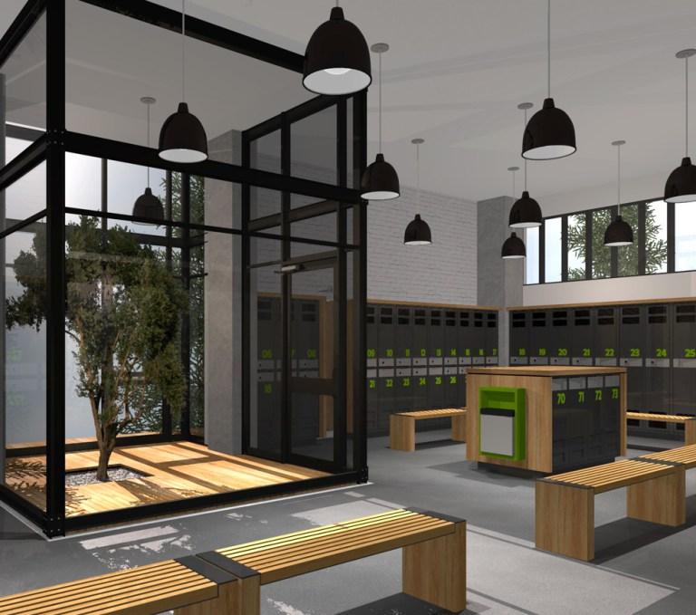 Aménagement intérieur Design intérieur illustrant vestiaire et arbre intérieur. Interior design showing lockers and interior tree.