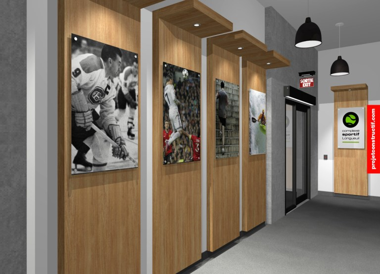 Aménagement intérieur Modélisation 3D de l'entrée des vestiaires. 3D modelling of changing room entrance and hallway leading to exit automatic door.