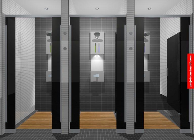 Aménagement intérieur Mise en page des douches et des modules distributeurs à savon. Layout of showers et custom soap distributors.