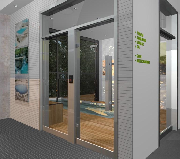 Aménagement intérieur Dessin en perspective illustrant l'accès à la terrasse arrière et à l'espace bain tourbillon. Perspective drawing of whirlbath et back terrace access.
