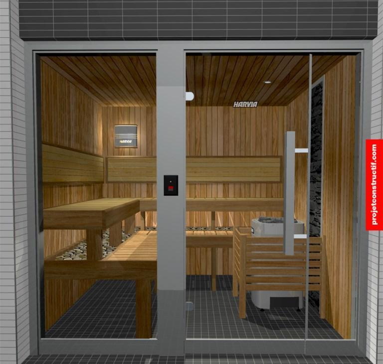 Aménagement intérieur Design illustré du bain vapeur sèche. Illustrated design of sauna