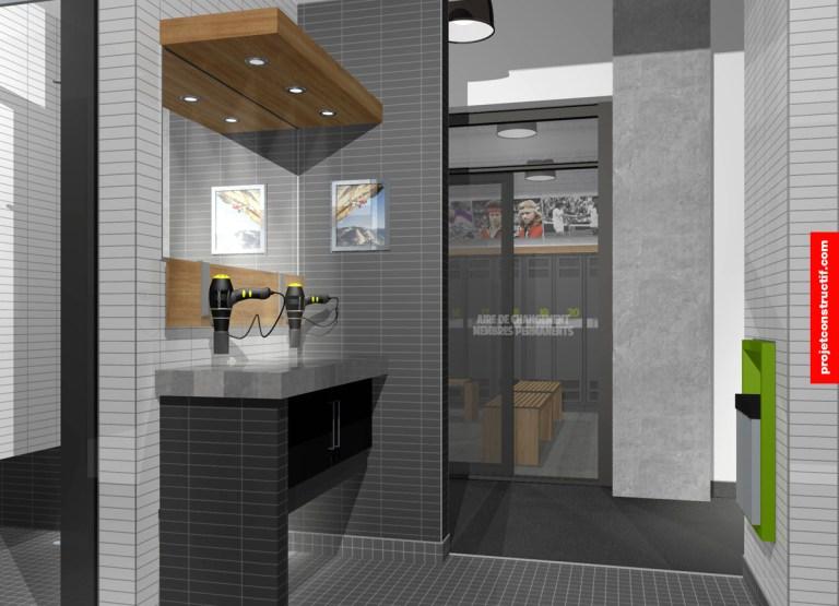 Aménagement intérieur Illustration 3D de l'emplacement dédié aux soins personnels et disposition des séchoirs. 3D design of private care and hair dryers arrangement.