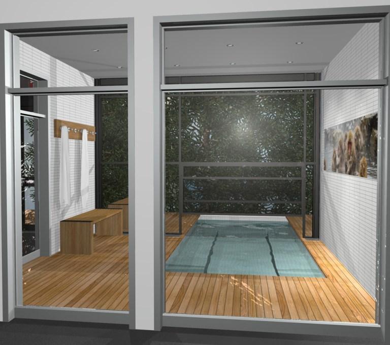 Aménagement intérieur Illustration 3D Spa, whirl water bath 3D modelling illustration