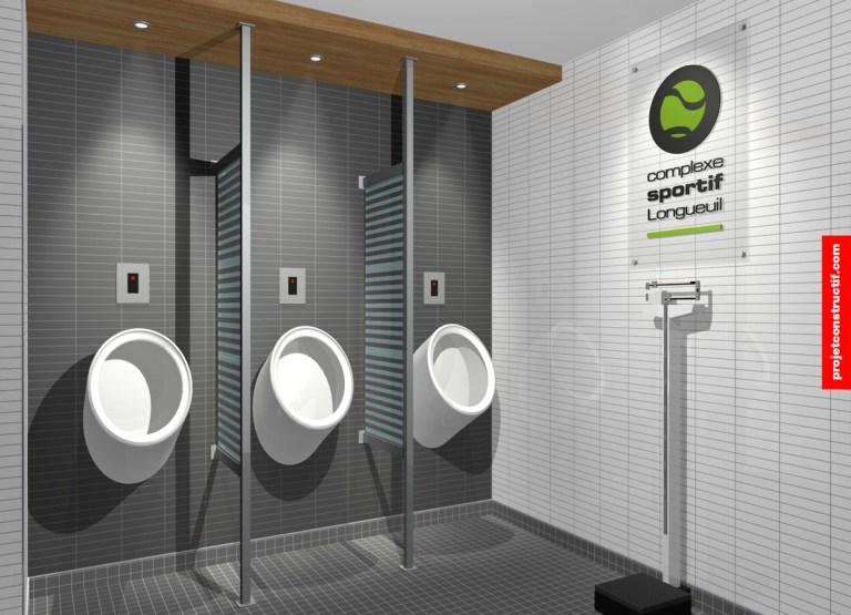 Aménagement intérieur espace urinoir et paroles de divisions, urinal area and dividing panels