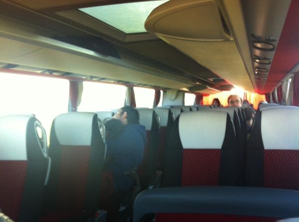 Dentro do onibus eurolines