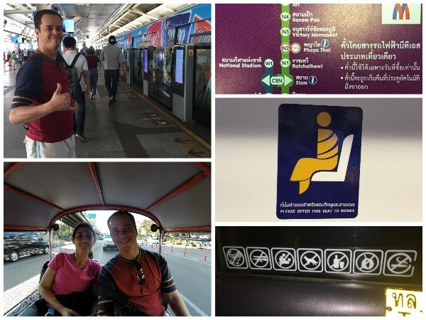 Andamos de skytrain e de tuk tuk; do lado direito: mapa do metrô no idioma deles, placa informando que os monges têm preferência e algumas das coisas proibidas dentro do táxi, como fazer sexo e comer durian