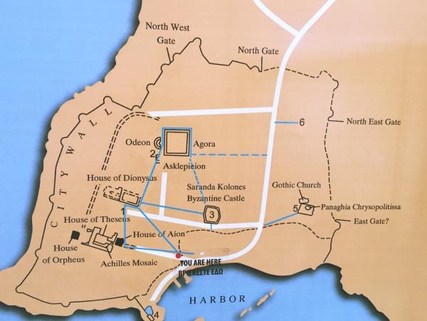 Mapa sitio arqueologico de Paphos