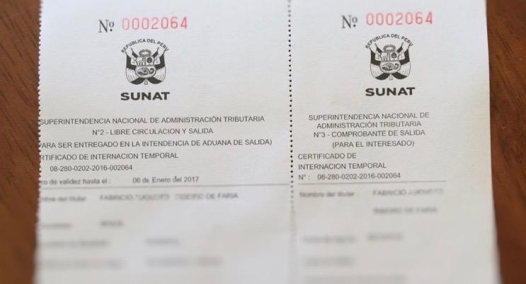 Documentação para viajar ao Peru de carro