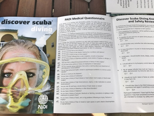 Questionário medico para mergulho