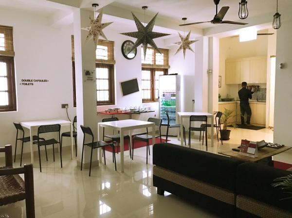Área comum do hotel cápsula