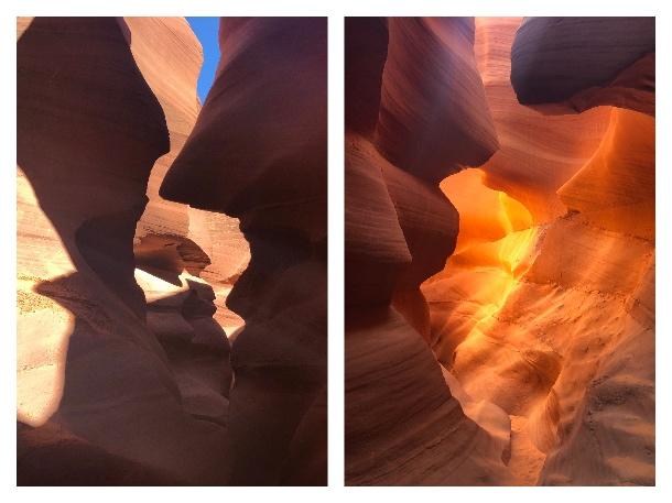 Fotos do Lower Antelope Canyon sem filtro e com filtro