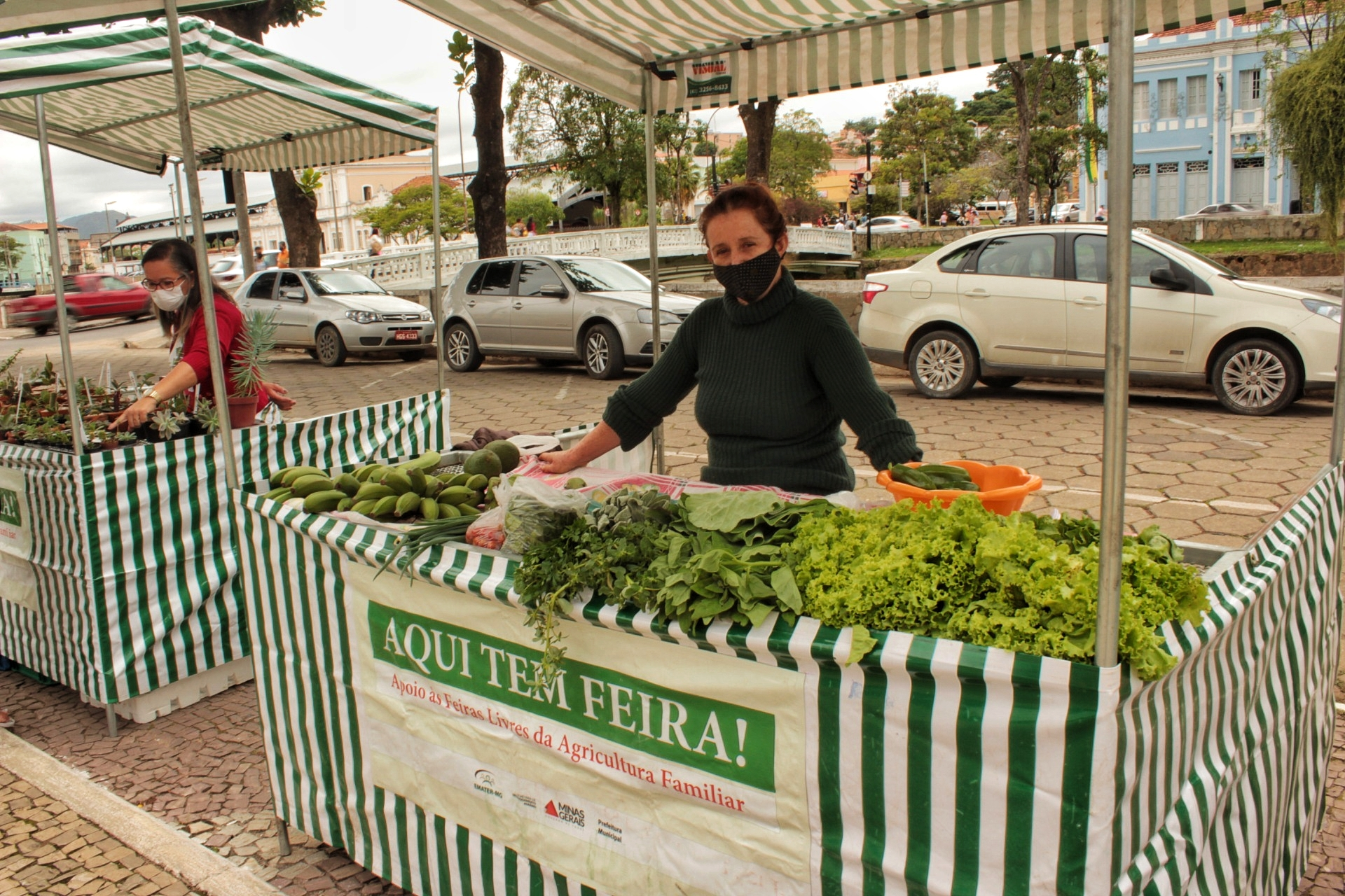 Heloísa na feira do coreto: produtora há sete anos, leva o trabalho com a terra como uma terapia. Foto de Millena Fagundes