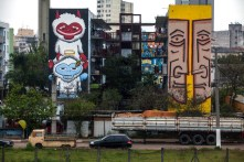 Murais produzidos por Subtu e Fel, visíveis da Marginal Tietê.