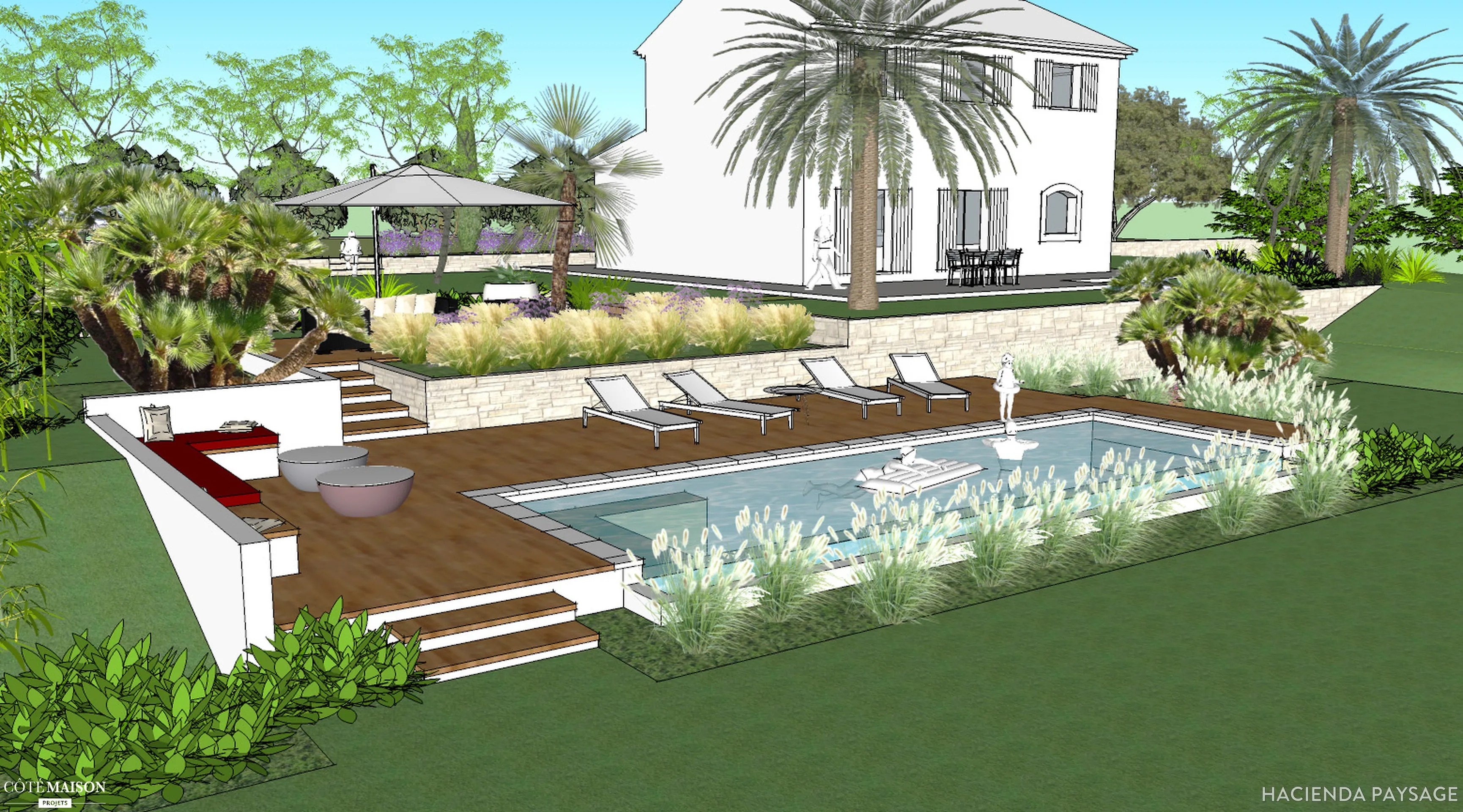 Jardin Mditerranen Hacienda Paysage Ct Maison