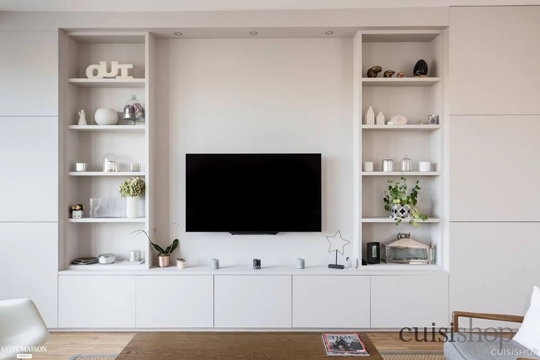 agencement sur mesure meuble tv bibliotheque paris cuisishop marque