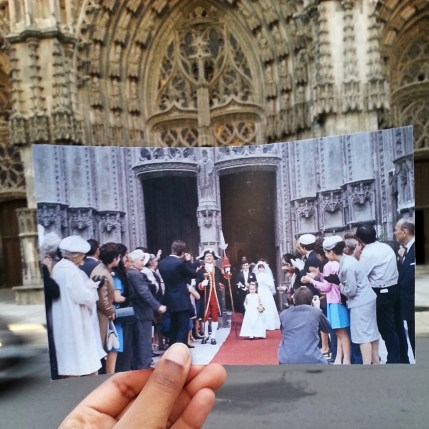 Photo du film Le Grand Amour de Pierre Etaix devant la cathédrale