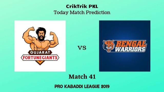 gujarat vs bengal match41 - Gujarat Fortunegiants vs Bengal Warriors Today Match Prediction - PKL 2019