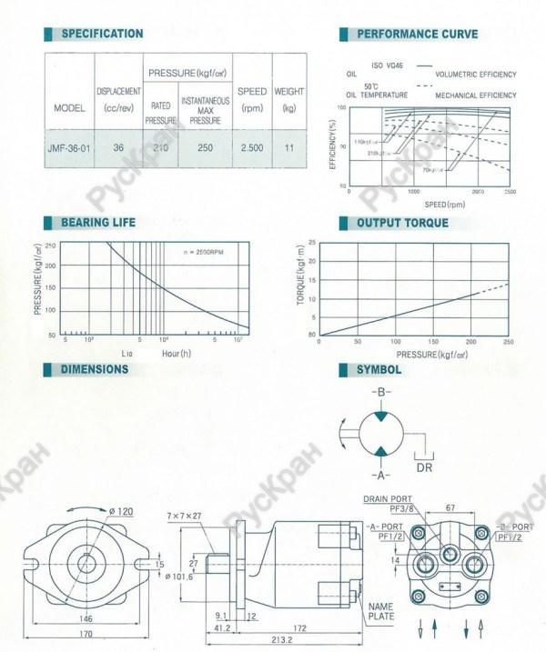S305602A Гидромотор JMF-36-01 редуктора лебедки DONGYANG ...