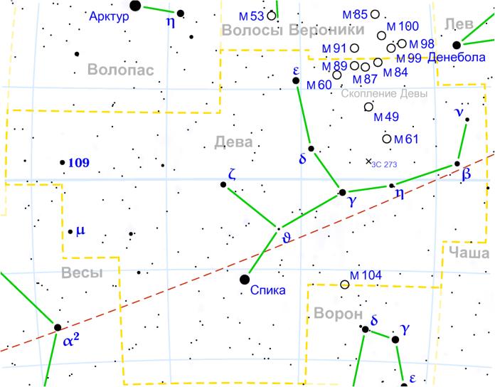 Созвездие Дева схема