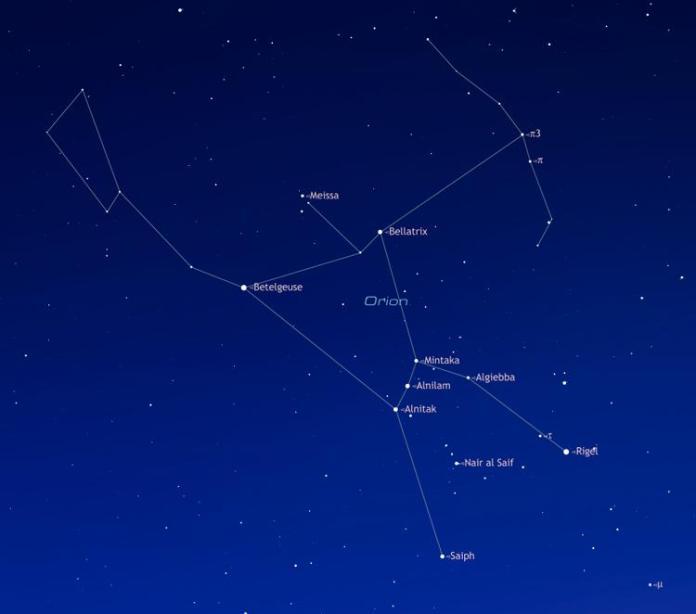 Звезд Беллатрикс в созвездии Ориона