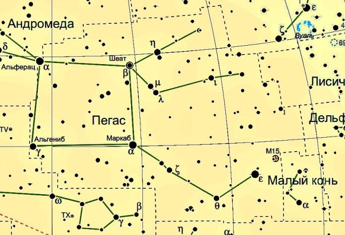 Созвездие Пегас схема