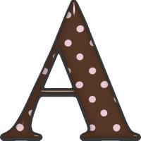 Alfabeto marrom com bolinhas rosas