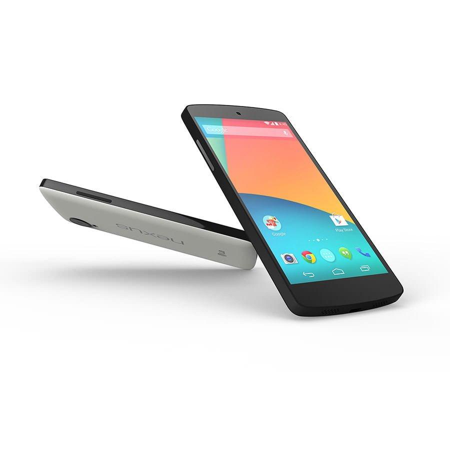 Điện thoại Google Nexus 5 trắng và đen