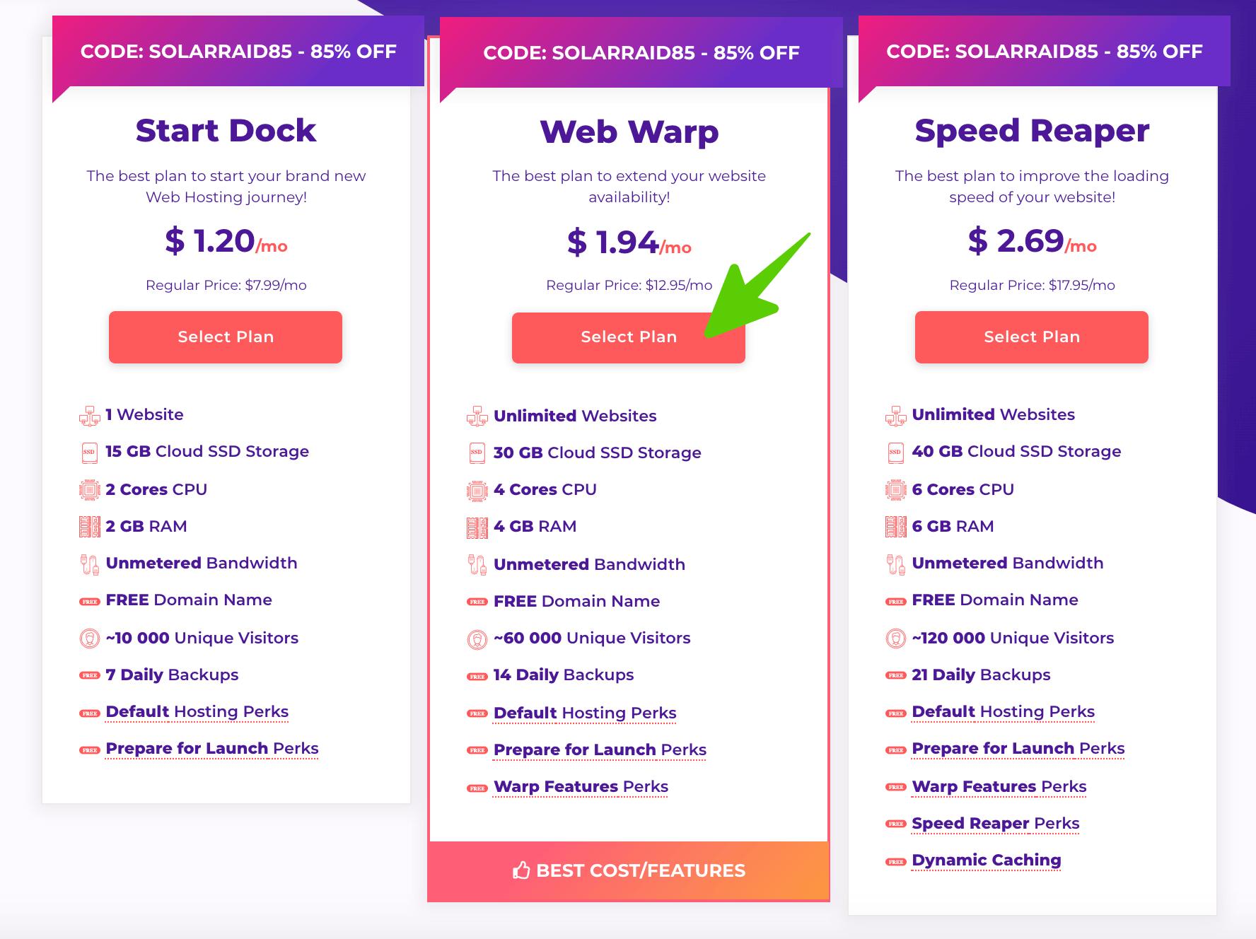 Chọn gói hosting bạn muốn mua tại hostarmada