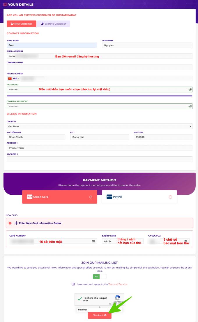kiểm tra lại đơn hàng mua hosting tại hostaranda