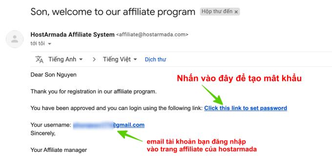 cài mật khẩu affiliate hostarmada