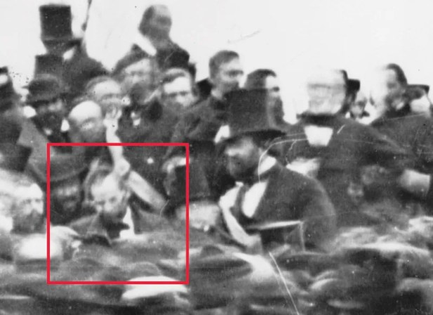 The first photo discovered of Lincoln at Gettysburg