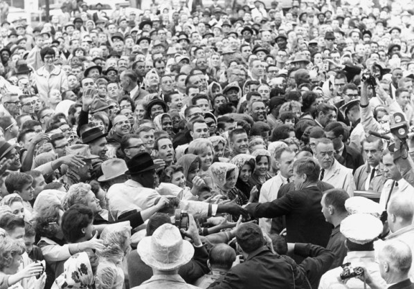 Kennedy greets a crowd at a rally in Fort Worth, Texas, on the day of his assassination (ST-525-8-63)