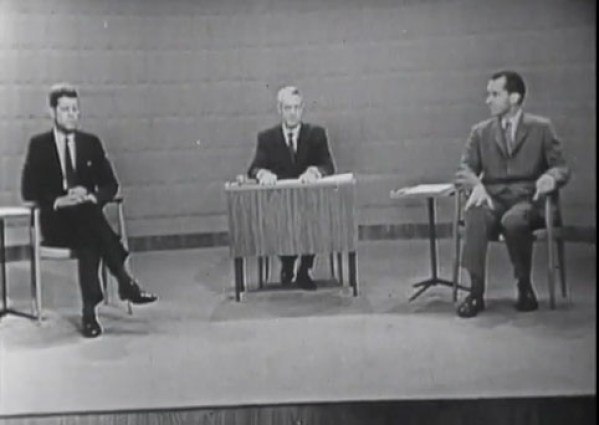 A screenshot from the Nixon/Kennedy Presidential debates (JFK Presidential Library)