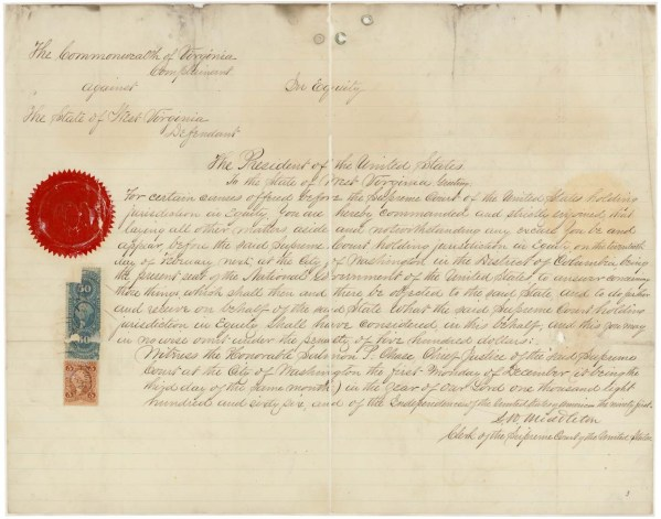 Subpoena of West Virginia (Records of the Supreme Court, ARC 597545)
