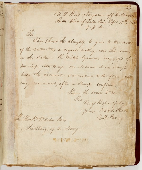 Letter from Commodore Oliver Perry to Hon. Wm. Jones, Secy. of Navy, September 10, 1813(National Archives)