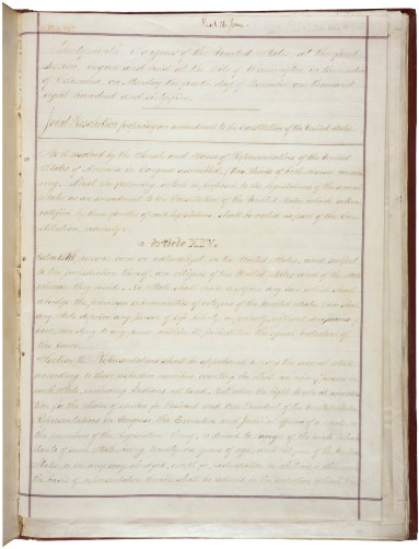 Joint Resolution proposing an amendment to the Constitution of the United States, June 13, 1866 (National Archives Identifier 1408913)