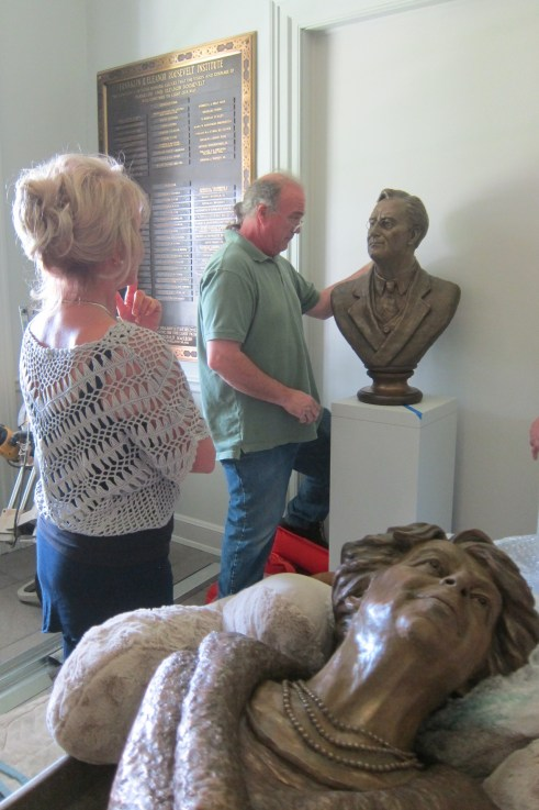 The Carolyn D. Palmer sculptures of Franklin and Eleanor Roosevelt were delivered and mounted in their new home in the renovated lobby of the FDR Presidential Library and Museum. These beautiful new sculptures — designed for and donated to the Library — can be touched by the public and will help the Roosevelt Library fulfill its commitment to accessibility for all its visitors.