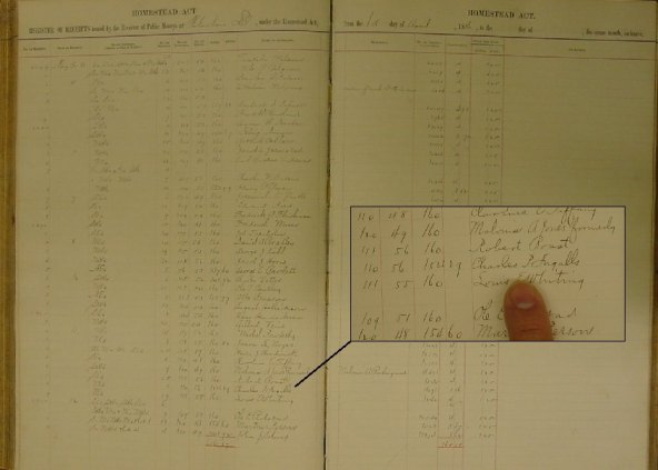 """""""Register of Final Homestead Receipts, December 9, 1871-May 21, 1891,"""" NARA identifier 2579455, RG 049 Records of the Bureau of Land Management, Entry 97."""