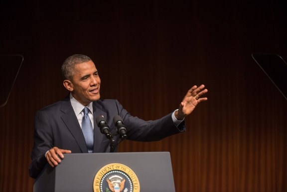 President Barack Obama discussed the impact of the Civil Rights Act. (LBJ Library photo by Lauren Gerson)