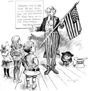 In this June 14, 1904, cartoon, Uncle Sam gives a lesson to schoolchildren on the meaning of Flag Day. Holding the American flag in one hand, Uncle Sam explains that the flag has great importance, unlike the Vice Presidency, which he ridicules in a kindly manner. (National Archives Identifier 6010464)