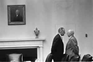President Lyndon B. Johnson meets with Sen. Richard Russell, 12/07/1963. (The Lyndon Baines Johnson Presidential Library)