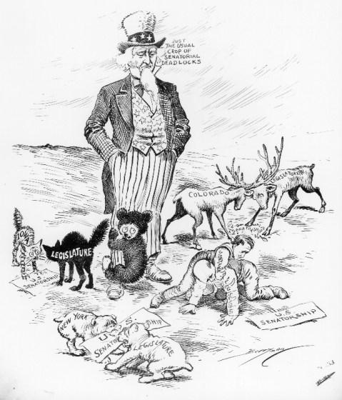 Senatorial Deadlocks, cartoon by Clifford Berryman, February 4, 1911. (National Archives Identifier 6010878)
