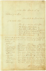 President George Washington's Nomination of Judges, Attorneys, and Marshalls, September 24, 1789. (Records of the U.S. Senate, National Archives)