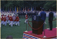 President Nixon and the President of Mexico review the troops at the White House, 06/15/1972. (National Archives Identifier: 194436)